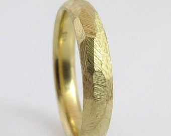 Rough wedding band, Faceted wedding ring, Unique wedding band, Rough gold ring, Hammered gold wedding band, Textured wedding band