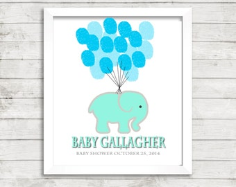 Baby Fingerprint Guestbook Thumbprint  Tree Elephant Baby Shower Gender Neutral  Elephant Balloons Personalized Gift  Name Date Keepsake