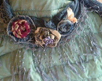 LACE-scarf with hand-made flowers from jeans and silk,Шарф-Украшение с цветами из джинсы,