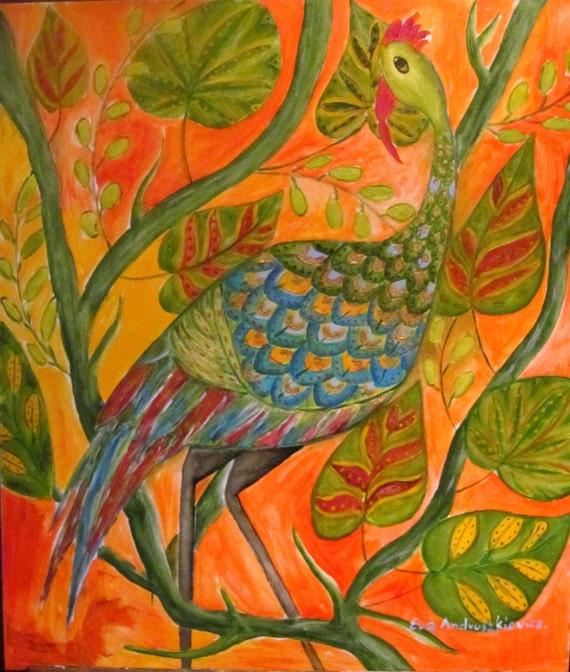 Fantasy bird.  oil painting.   oil painting original. canvas painting. unique oil. colours; blue, orange, yellow,green. ready to ship.