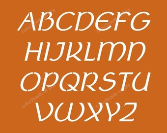 ancient celtic italic letter stencils a z alphabet set choose upper lowercase or both 12 to 6 inch sizes available item codeet40