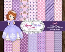 Kit papers digital party Princess Sophia / Sofia the First Digital Papers / Clipart creates invitations, labels and more!