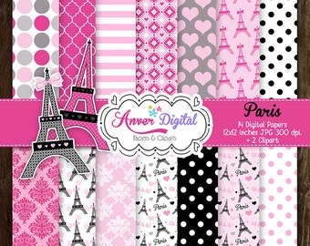 Kit digital papers Paris, Paris Digital Paper Clipart, Eiffel tower, Eiffel Tower, Printable, For personal and commercial use.