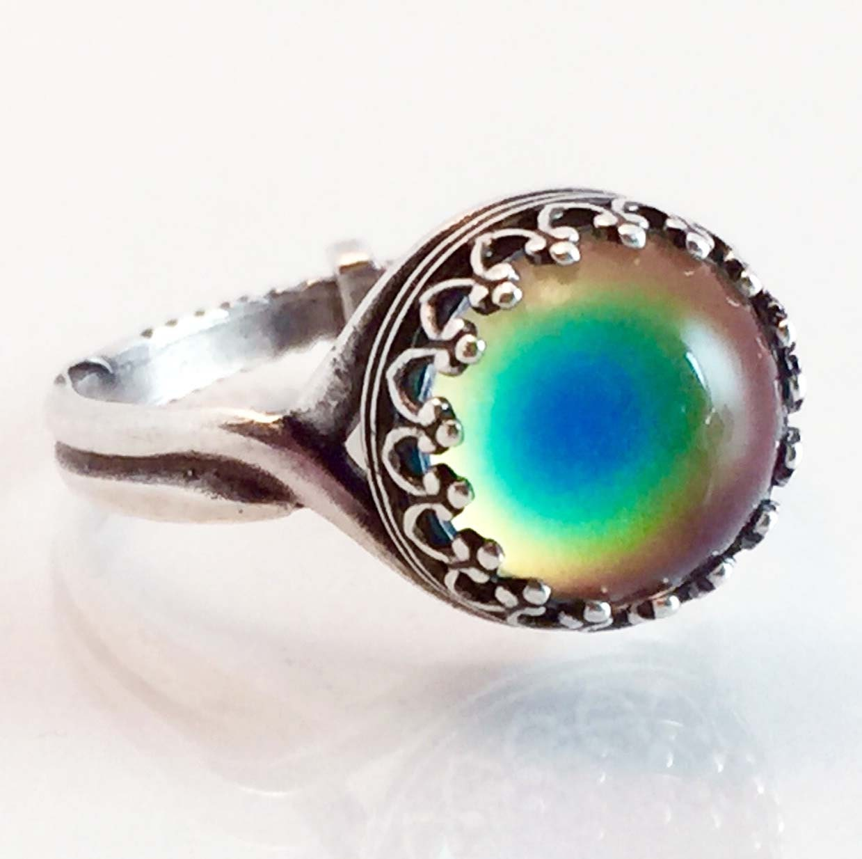 mood ring small silver plated crown color rainbow