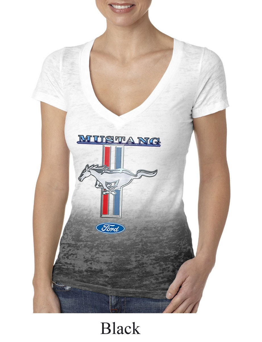 ladies ford mustang shirt mustang stripe ombre tee t shirt. Black Bedroom Furniture Sets. Home Design Ideas