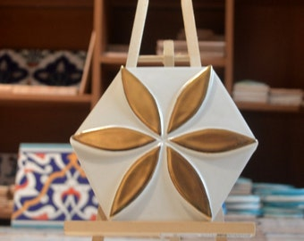 "Gold Tile Seljuk-Relief Tile and handmade Wall tile 6""x6"" ( 16cmx16cm )"