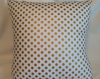 SALE!!! Gold Polka Dot Pillow Cover