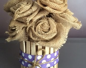 Clothespin container with burlap flowers