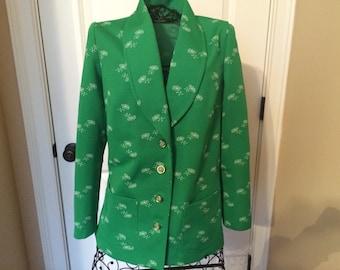 Vintage Green Floral Jacket, size m/l