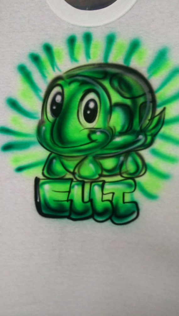 Turtle Shirt Swimmer Green Turtle Airbrush By