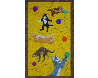 Kittens  is a quilted applique pattern for a wall hanging