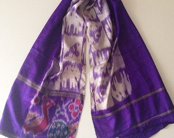 Vintage silk scarf from indian saree,bohemian scarf,ethnic scarf.