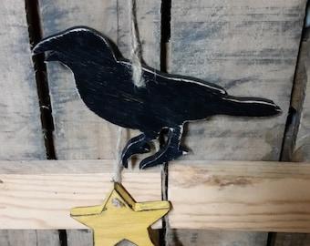 Primitive Wooden Crow and Primitive Wooden Star ornament hanger