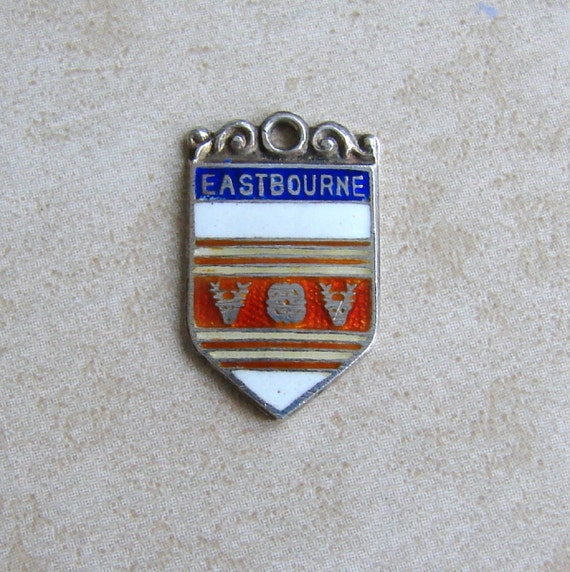 Eastbourne England Enamel Travel Shield Vintage Silver