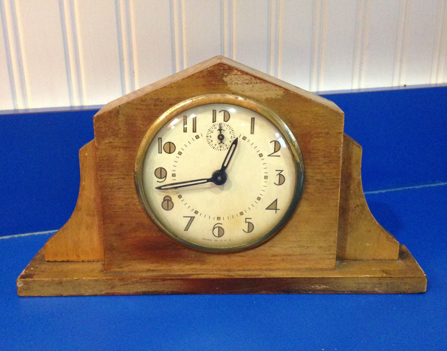 Vintage art deco alarm mantle clock wood Art deco alarm clocks