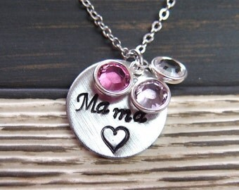 """mother's necklace, family necklace, custom hand stamped necklace with """"Mama"""", heart design and three birthstones, mother's jewelry, mummy"""