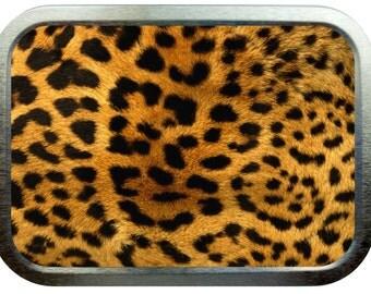 Leopard skin design 2oz silver tobacco tin,pill box,storage tin