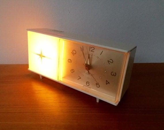 White Vintage Flashing Light Alarm Clock Westclox Electric