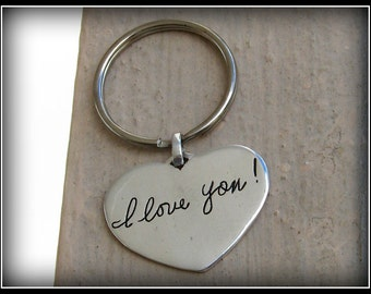 Double sided. Memorial Jewelry Signature Keychain. Your Loved Ones Actual Signature or handwriting. Fine Silver.
