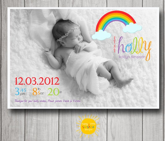 Printable Rainbow Birth Announcement