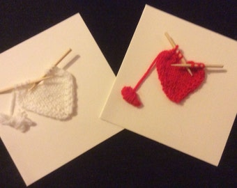 Pack of 2 Knitted valentine or birthday cards, greetings cards, knitted cards, gift cards, birthday cards, thank you cards, heart birthday C