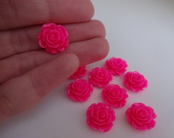 9 pink roses resin flatback decoden cabochons 15x7mm embellishment resin scrapbook DIY phone hair bow centre clip pin