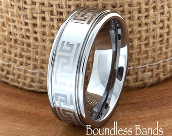 Greek Key Tungsten Ring Band Any Design Wedding Band Customized Grooved Laser Engraved Ring Unique New Modern Classic 8mm Greek Pattern Band