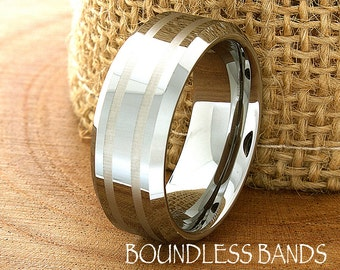 Tungsten Wedding Ring Customized Wedding Band High Polished Beveled His Hers Anniversary Ring Laser Engraved Unisex Mens Womens New Design