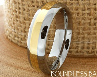Two Tone Tungsten Wedding Band Gold Plated Anniversary Band His Hers Custom Laser Engraved New Design Modern Men Women Wedding Ring New Ring