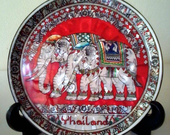 """Siam elephant wall/stand wood plate inlaid lacquer mother of Pearl handmade 8"""""""