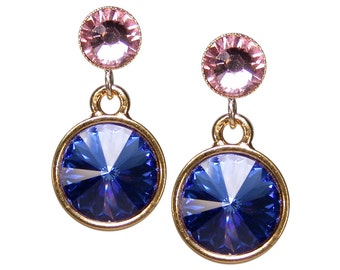 Crystal Stud Earrings. Sapphire blue pink. Gold plated