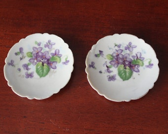 "Miniature Porcelain ""Violets"" Plates Lot of 2"
