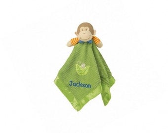 Personalized Mango Monkey Blanket & Toy - 17 Inch - Blue Embroidery