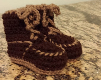 Brown Work Boot Style Baby Booties