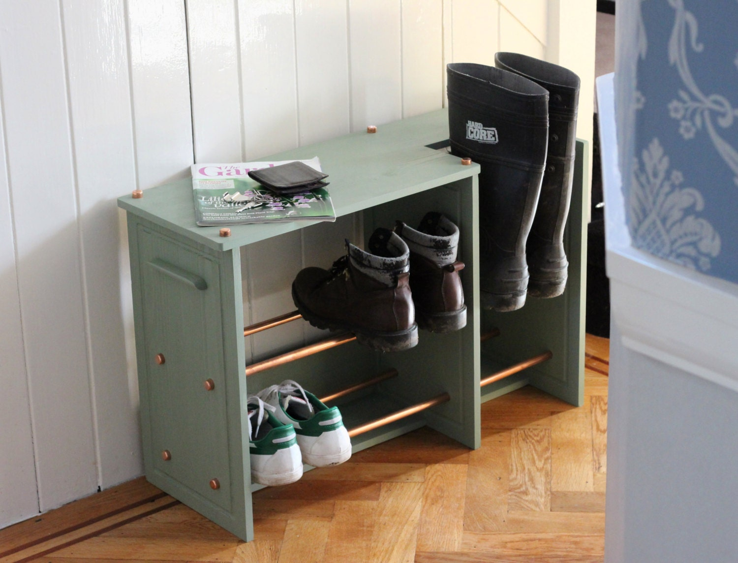 wooden shoe rack boot rack with copper racking by inwoodcraft. Black Bedroom Furniture Sets. Home Design Ideas