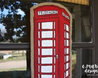 Red Telephone Booth Burlap Door Hanger