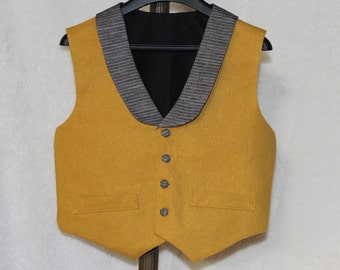 Kids Charcoal Mustard Vest - baby/toddler/children.
