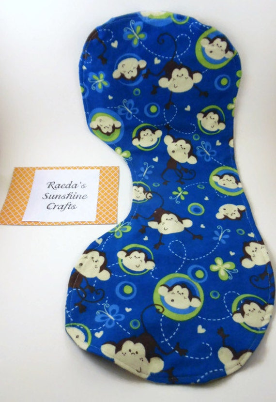 Flannel Contoured Burp Cloth Monkey and Butterfly Burpies Burpcloth