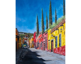San Miguel 4 - Signed Limited Edition Print of an Original Oil Painting by Giles Cook -  San Miguel de Allende, Guanajuato, Central Mexico