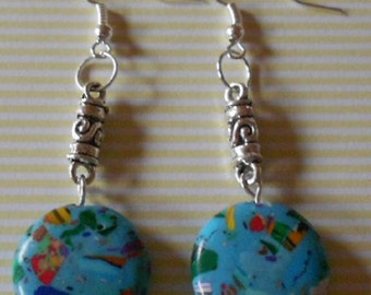 Beautiful hand made earrings with dyed synthetic howlite beads