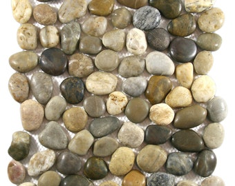 Hand Made Pebble Tile - Polished Cobblestone 1 sq. ft. - Use for Mosaics, Showers, Flooring, Backsplashes and More!