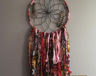Bohemian Dream Catcher, Pink, Orange, Feathers, Handmade, Beads, Fabric, Red, Black, dreamcatcher