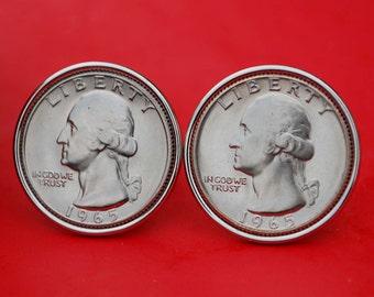 US 1965 Washington Quarter Dollar Gem BU Uncirculated Special Mint Set Coin Cufflinks NEW