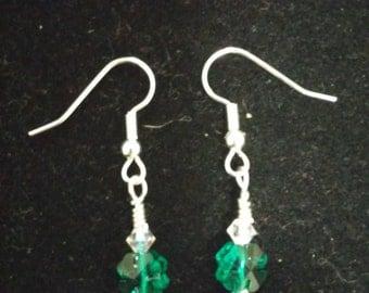 Dark green shamrock earrings