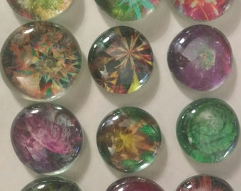 12 fantasy flowers  bottle cap & glass gem magnets cupcake toppers neon gift