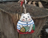 Hand painted Cat Doll Keyring. Key Chain. Natural Fabric. Soft toy. Bag charms.
