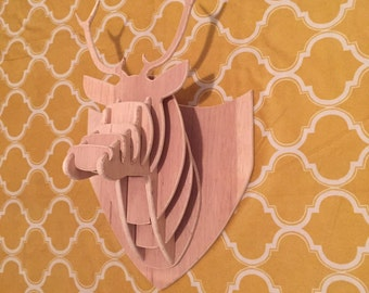 Unfinished Wood Deer Head