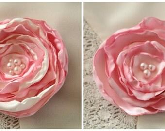 Light Pink Silk Flower Hair Clip