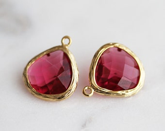 A2-004-G-RU] Ruby Red / 13mm / Gold plated / Glass Pendant / 2 pieces