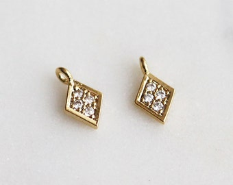 P1-731-G] Cz Card Diamonds / 5.5mm / Gold plated / Pendant / 2 piece(s)